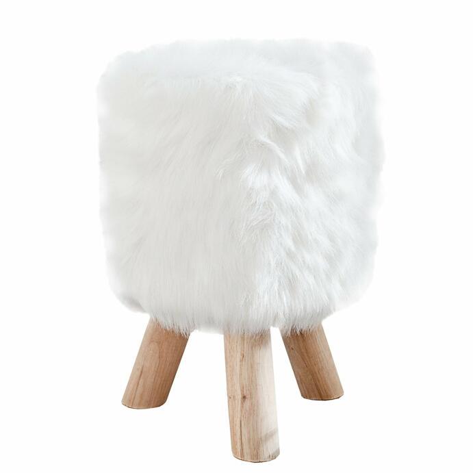 Fellhocker Sitzhocker mit Fell weiß Fellimitat Kunstfell, mit weißen hübschen Fransen