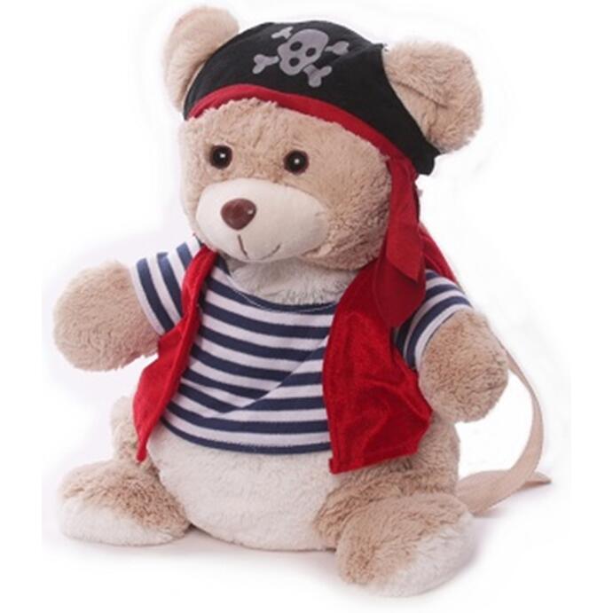 Inware Kinderrucksack Tier-Rucksack Kindertasche im süßen Design Piratenbär braun