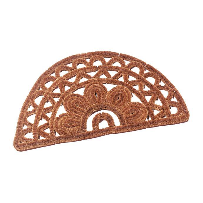 Redecker Fußabtreter Kokos Fußmatte aus Kokosfasern halbrund gemustert