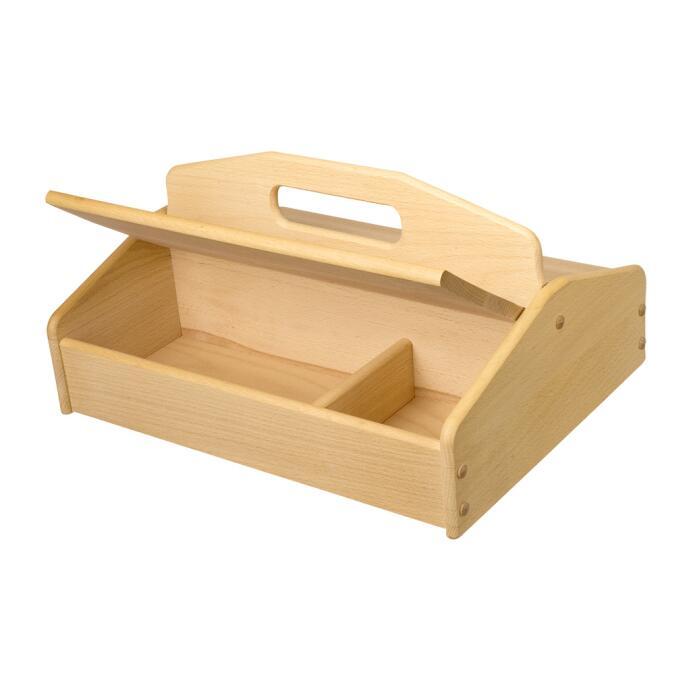 Redecker Schuhputzkasten aus Buchenholz mit Unterteilungen und Griff