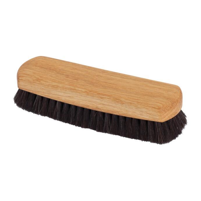 Redecker Schuh Glanzbürste Ziegenhaar geöltes Eichenholz schwarz 16 cm