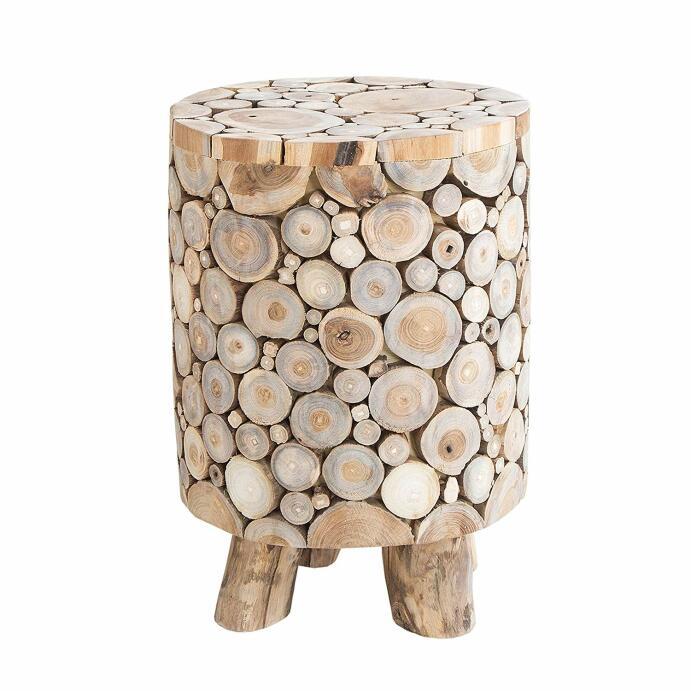Hocker Teakholz MOSAIK runder Beistelltisch natur in Handarbeit gefertigt Holzhocker Holztisch Massivholz