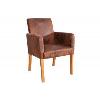 Stuhl Küchen-Stuhl Wohnzimmer-Stuhl Esszimmer-Stuhl Valentino mit Armlehne light coffee