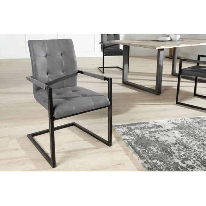 Freischwinger Esszimmer-Stuhl Wohnzimmer-Stuhl Schreibtischstuhl Oxford mit Armlehne grau