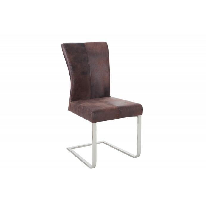 Freischwinger Wohnzimmer-Stuhl Esszimmer-Stuhl Schreibtischstuhl Samson braun
