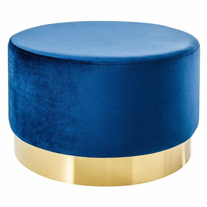 Eleganter Couchtisch BAROCK SAMT blau Gold Hocker Sitzhocker Fußhocker Tisch