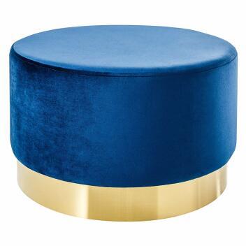Eleganter Couchtisch BAROCK SAMT blau Gold Hocker...