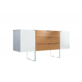 Sideboard Onyx 160cm weiss Glas-Eiche Lowboard TV-Tisch TV-Board Fernsehtisch