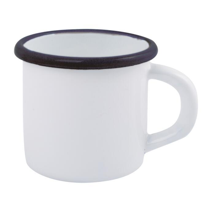 Redecker Trinkbecher Trinkgefäß Emaille weiß 0,3L