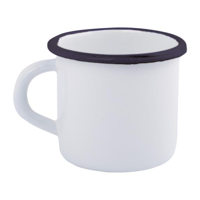 Redecker Trinkbecher Trinkgefäß Emaille weiß 0,4L