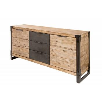 Sideboard Factory 180cm Akazie teakgrau Metallgestell - Insustrial Style Lowboard