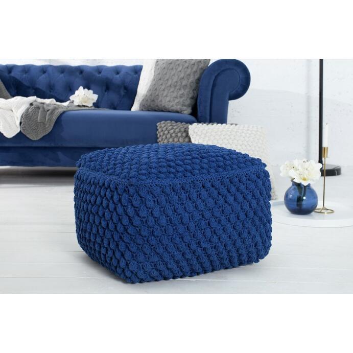 Pouf Sitzpouf COSY 1 55 cm dunkelblau aus Strick Wohnzimmer Sitzgelegenheit