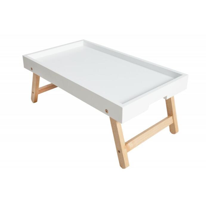 Frühstückstablett Betttablett Holztablett Scandinavia in weiß mit Eichenholz