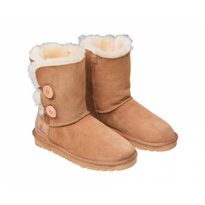 Lammfell Winter-Stiefel Leder braun Größe 36-43 Damen Allegra gefüttert modern_R