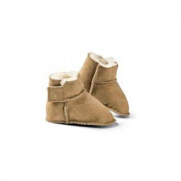 Lammfell Baby-Schuh Hausschuh Leder 16/17 braun Kuschl Mädchen Jungen