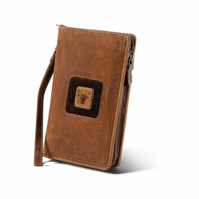 Büffelleder Handybörse Leder-Portemonnaie Handy-Tasche vers. Farben