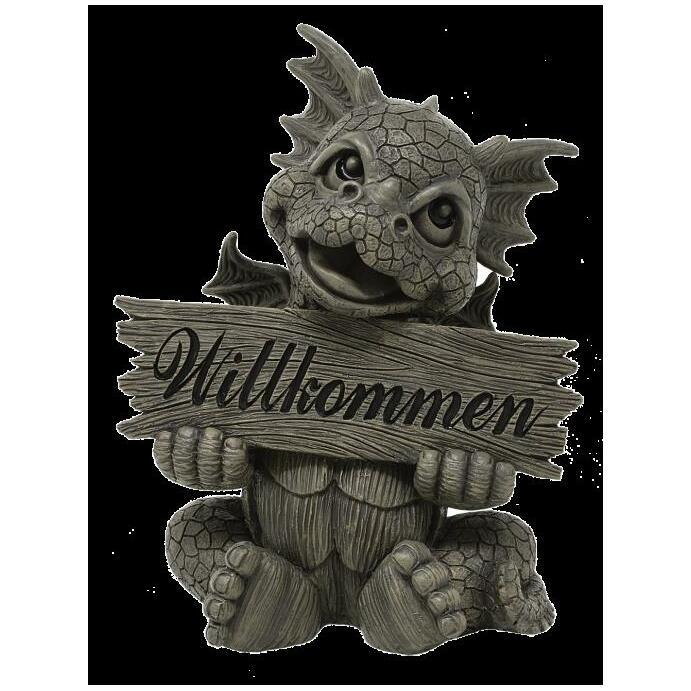 Gartendrache Welcome Gartenfigur Drachenfigur Polyresin Geschenkidee Deko handbemalt